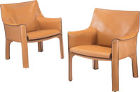 Mario Bellini (Italian, b. 1935) A Pair of Italian Cab Lounge Chairs, Cassina Leather, steel 31-1/2 x 22 x 20 inches...