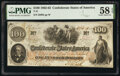 Confederate Notes:1862 Issues, Houston Reissued T41 $100 1862 PF-17 Cr. 318 PMG Choice About Unc 58 EPQ.. ...