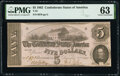 Confederate Notes:1862 Issues, T53 $5 1862 PF-3 Cr. 383 PMG Choice Uncirculated 63.. ...