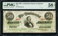 Confederate Notes:1863 Issues, T57 $50 1863 PF-15 Cr. UNL PMG Choice About Unc 58 EPQ.. ...