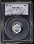 1964-D 10C Doubled Die MS64 PCGS. FS-018.5. DDR 1-R-I. All reverse legends are widely die doubled. A lightly toned and s...