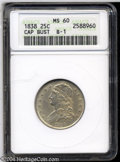 Bust Quarters: , 1838 25C MS60 ANACS. B-1, R.1. The only dies for this ...