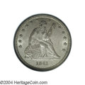 Seated Quarters: , 1841 25C MS64 NGC. This satiny near-Gem offers dusky ...