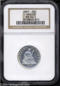 Seated Quarters: , 1867 25C MS62 NGC. This is a sharply struck example whose ...