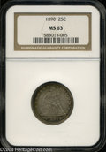 Seated Quarters: , 1890 25C MS63 NGC. The surfaces exhibit some rather deep ...