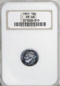 Proof Roosevelt Dimes: , 1951 10C PR68 NGC. NGC Census: (119/6). PCGS Population (26/7).Mintage: 57,500. Numismedia Wsl. Price for NGC/PCGS coin in...