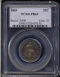 Proof Seated Quarters: , 1869 25C PR63 PCGS. Fully struck and unmarked, with a ...