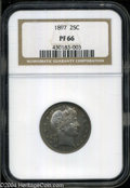 Proof Barber Quarters: , 1897 25C PR66 NGC. Well struck with uneven turquoise and ...