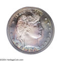 Proof Barber Quarters: , 1905 25C PR68 PCGS. A tantalizing mixture of teal-blue, ...