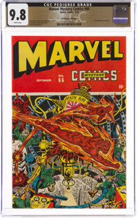 Marvel Mystery Comics #66 The Promise Collection Pedigree (Timely, 1945) CGC NM/MT 9.8 White pages