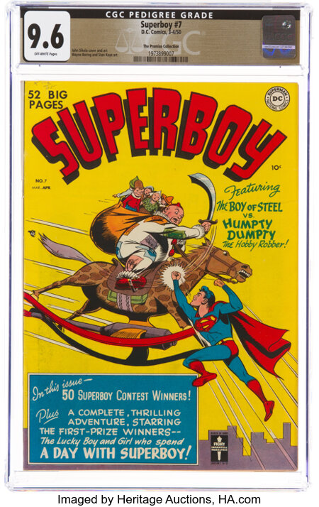Superboy #7 The Promise Collection Pedigree (DC, 1950) CGC NM+ 9.6 Off-white pages....