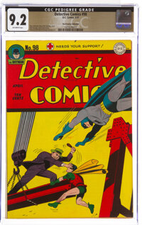 Detective Comics #98 The Promise Collection Pedigree (DC, 1945) CGC NM- 9.2 Off-white pages