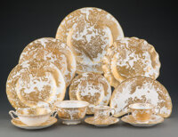 A One Hundred Forty-Seven-Piece Royal Crown Derby Gold Aves Pattern Porcelain Dinner and Coffee Service, second ... (Tot...