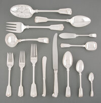 A One Hundred and Seventy-Three-Piece James Robinson Inc. Fiddle, Thread & Shell Pattern Silver Flatware Service f...