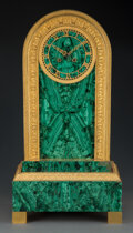 Clocks & Mechanical, A Russian Neoclassical-Style Malachite and Gilt Bronze Clock, early 20th century. 24-1/4 x 12-1/2 x 6-1/4 inches (61.6 x 31....