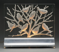 An R. Lalique Glass Fauvettes C Clear and Frosted Glass Luminaire on Chrome Metal Base, circa 1930 Marks: R