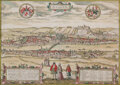 Prints & Multiples, Two Latin Manuscript Maps of Passau, Germany and Soest, Netherlands in Gilt Frames, 16th century. Ink and watercolor on pape... (Total: 2 Items)