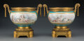 Ceramics & Porcelain, A Pair of Sèvres-Style Gilt Bronze Mounted Porcelain Jardinières, early-mid 20th century. 10-1/2 x 12 x 8-1/4 inches (26.7 x... (Total: 2 Items)