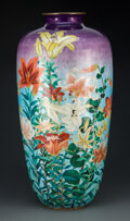 Metalwork, A Large Japanese Ginbari Cloisonné Vase, late 19th- early 20th century. 24-1/8 x 12 inches (61.3 x 30.5 cm). ...