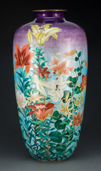 A Large Japanese Ginbari Cloisonné Vase, late 19th- early 20th century 24-1/8 x 12 inches (61.3 x 30.5 cm)