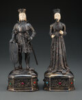 Silver & Vertu, A Pair of Israel Freeman and Son Silver and Bone King and Queen Figures, 20th century. Marks to each: 925, STERLING, GERMA... (Total: 2 Items)