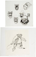 Animation Art:Concept Art, Mike Ploog The Black Cauldron Horned King and Henchman Character Design Drawings Original Art Group of 2 (Walt Dis... (Total: 2 Items)