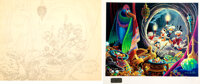 """Carl Barks """"Dangerous Discovery"""" Penciled Layout Drawing Original Art and Limited Edition Print with Sticker #..."""