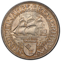 """Germany: Weimar Republic """"Bremerhaven"""" 5 Mark 1927-A MS65+ PCGS"""