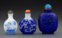 A Group of Three Chinese Glass Snuff Bottles, Qing Dynasty 3-1/2 x 2-1/2 x 1-1/4 inches (8.9 x 6.4 x 3.2 cm) (largest)...