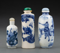 A Group of Three Chinese Blue and White Snuff Bottles, 19th-20th century 3-3/4 x 1-1/2 inches (9.5 x 3.8 cm) (tallest)...