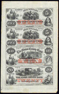 Plainfield, NJ- Union County Bank $5-$5-$10-$20 Sep. 12, 1859 Uncut Sheet Extremely Fine-About Uncirculated