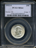 Washington Quarters: , 1932-S 25C MS64 PCGS. An attractive example of this key ...