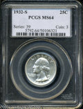 Washington Quarters: , 1932-S 25C MS64 PCGS. A fully brilliant example of this ...