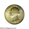 Washington Quarters: , 1932-S 25C MS65 NGC. The obverse is toned in colorful ...