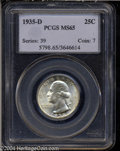 Washington Quarters: , 1935-D 25C MS65 PCGS. Untoned or nearly so and displaying ...