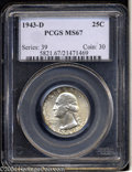Washington Quarters: , 1943-D 25C MS67 PCGS. Blushes of olive and golden-brown ...