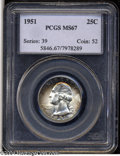 Washington Quarters: , 1951 25C MS67 PCGS. Razor-sharp striking definition with ...