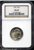 Washington Quarters: , 1957 25C MS68 NGC. A nearly flawless example of probable ...