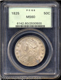 Bust Half Dollars: , 1825 50C MS60 PCGS. O-114, R.1. The 1 in the date is ...