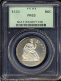 Proof Seated Half Dollars: , 1863 50C PR63 PCGS. Well struck with lovely sea-green ...