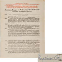1932 Babe Ruth Signed New York Yankees Player's Contract