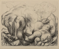 Pablo Picasso (1881-1973) Le Viol V, from La Suite Vollard, 1933 Drypoint on Montval paper 13-1/2 x 17-1/2 inches