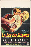 """Movie Posters:Hitchcock, I Confess (Warner Bros., 1953). Folded, Very Fine-. Belgian (14.5"""" X 22""""). Hitchcock.. ..."""