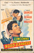 """Movie Posters:Hitchcock, Strangers on a Train (Warner Bros., 1951). Folded, Fine+. Belgian (14"""" X 22""""). Hitchcock.. ..."""