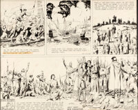 Hal Foster Prince Valiant #103 Partial Sunday Comic Strip Original Art dated 1-29-39 and Re-Creation of Missing Se... (T...
