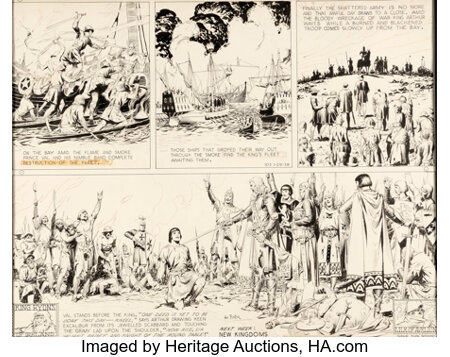 Hal Foster Prince Valiant #103 Partial Sunday Comic Strip Original Art dated 1-29-39 and Re-Creation of Missing Se... (Total: 2 Original Art)