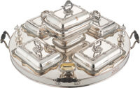 An English Silver-Plated Supper Tray with Fittings, 20th century Marks: MADE IN ENGLAND 18 x 31 x 31 inches (45.7 x 78...