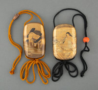 Two Japanese Lacquer Inro, Edo-Meiji Period Marks: two-character signature (one) and three-character signature (on