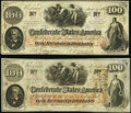Confederate Notes:1862 Issues, T41 $100 1862 PF-2 Cr. 311 Very Fine;. T41 $100 1862 PF-7 Cr. 317 Fine.. ... (Total: 2 notes)