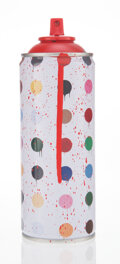 Collectible, Mr. Brainwash (b. 1966). Hirst Dots (Red), 2020. Screenprint with hand-coloring on aluminum spray can. 7-1/2 x 2-1/2 x 2...